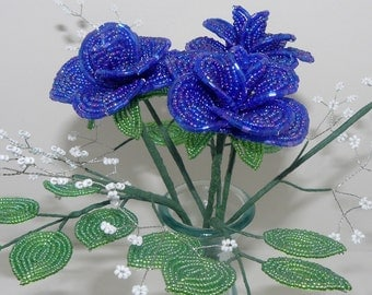 Beaded Flowers Bouquet Three Medium Blue Roses With Baby's Breath