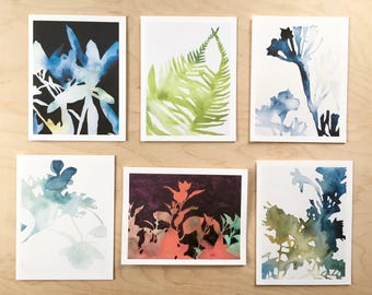 NEW // Shadow Card Set // Plant Art // Blank Card // Art Card // NW Artist // Gardener Gift // Everyday Card // Rachel Austin