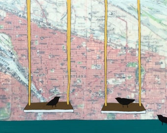 Portland / 9 x 15 Map Painting / Oregon Art / Map Art / Modern Decor / Swings / Bird Art
