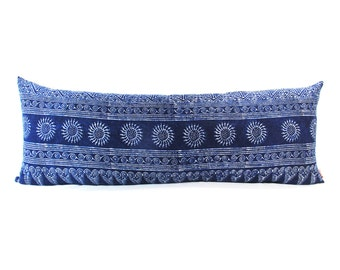 Sun Blue Batik Indigo Long Lumbar Zipper Pillow - Bohemian Long Lumbar Pillow - Boho Linen Decorative Pillow-Down Filler Included