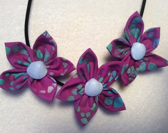 Magenta Green Blue Shell Button  Fabric Flower Statement Necklace