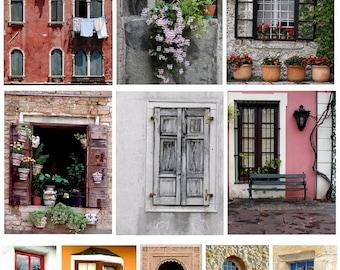 Old World Windows No. 2 - Digital Collage Sheet - Instant Download