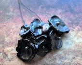 Black Corn Flake Pearl Blossom Bead Charms - 1 Pair - 6 pieces