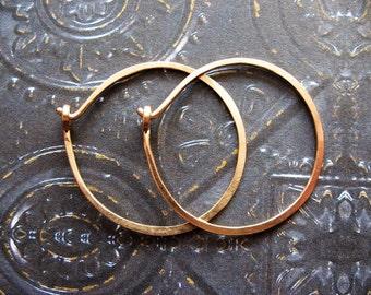 18 gauge Gold Filled Hammered Hoops - 1 pair - 28mm