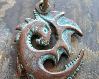 Ancient Dragon Pendant in Verdigris Bronze
