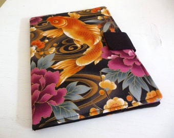 iPad Air 2 Cover, Soft Book Style iPad Air Case, Koi and Flowers
