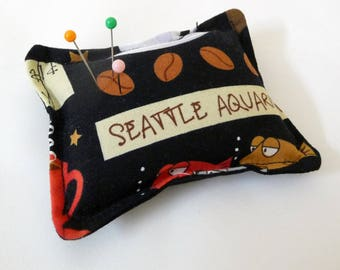 Seattle Themed Pincushion filled with walnut shells