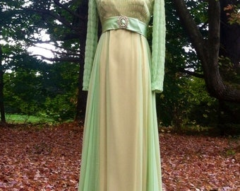 Vintage 1960s Dress/ 60s Chiffon Dress/ Maxi Dress/ 60s Green Dress/ Bohemian Dress/
