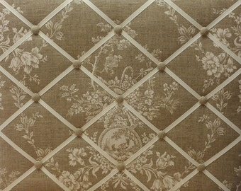 French Ribbon Memo Board Made With Waverly Country House Linen Toile Fabric