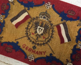 vintage cigar felt,collectible felt,Germany,German flag,dollhouse rug,memorialbilia,cigar flannel,cigar premium,Germany crest,German