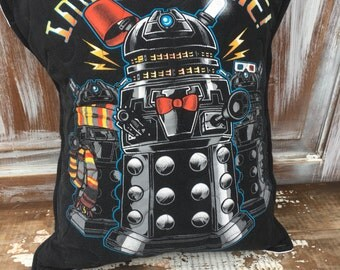 Dr Who Throw Pillow--Upcycled Eco Friendly-Quilted-
