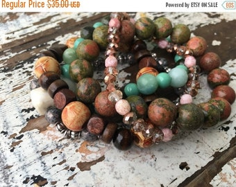 40% OFF- Beaded Stack Bracelets-Glass and Wood-Cuff Accessories-Boho Style-Mint Chocolate Chip
