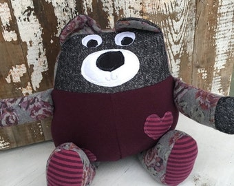 40% OFF- Plum the Bear-Stuffed Softie-One of a Kind Toy-Eco Friendly Toy
