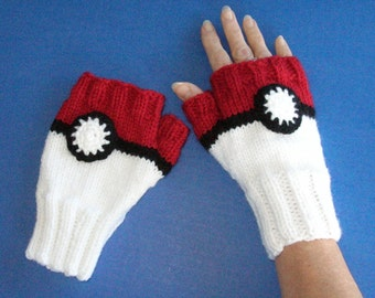 Pokemon Fingerless Mitts - Pokeball Fingerless Gloves