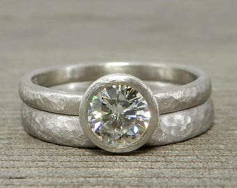 Moissanite Engagement U0026 Wedding Ring In 950 Palladium   Hammered,  Matte/Brushed/Textured