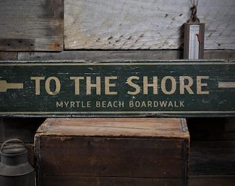 To The Shore Sign, Beach Arrow Sign, Custom Wood Sign Boardwalk Gift, Beach Boardwalk Decor, Rustic HandMade Vintage Wooden Sign ENS1001827