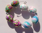 Colorful Teardrop Egg Shaped Earring Pairs Four Sets Handmade Artisan Polymer Clay Bead Pairs