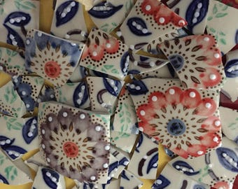 100 pcs Mosaic Tiles Mix Broken Plate Art Hand Cut Pieces Supply Hand Painted Flower  100