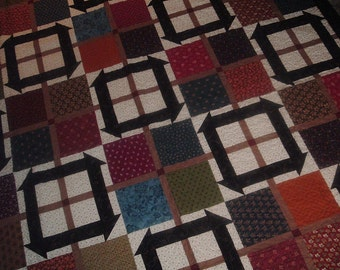 Churn Dash and Squares Large Quilt  72 x 86 inches
