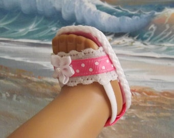 "Doll Sandals for 18"" dolls and 13-14"" dolls and 14.5"" dolls (You Choose Size) Medium Pink Shoes With White Lace Accents"