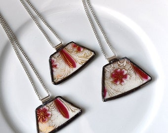 You ComPlate Me Matching Broken Plate Friendship Necklaces - Red and Gold - Recycled China