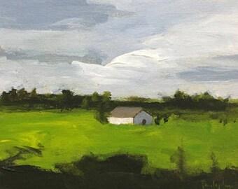 ORIGINAL landscape painting green landscape art acrylic painting on canvas mantel decor design cloud scape