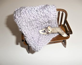 Knit Blanket - Miniature Blanket -Lavender Miniature - Crib Doll House Blanket/Afghan - One Twelfth Scale Doll House - Gift Idea