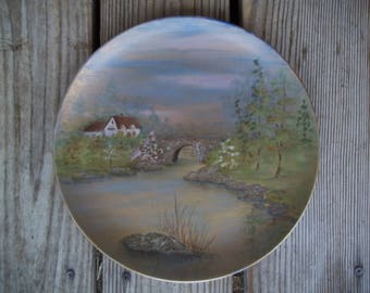 Vintage Hand Painted Textured Plate Bridge Stream Signed M. Edwards 1985 Exc.