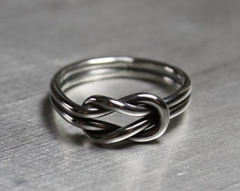SALE Sterling Silver Sailor Knot Ring, Love Knot Jewelry