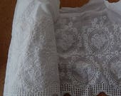 CLEARANCE - White wide scallop motif lace trim,   9.5 x 72 inches