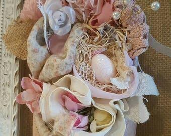 Altered ballet slipper with vintage millinery and handmade flowers shabby cottage decor pink glitter bird egg
