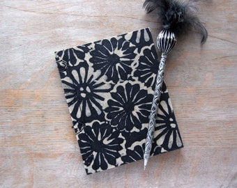 Softcover Small Sketchbook or Journal, 6x4.75 inches, Black Batik Mums, unlined pages, Ready to Ship