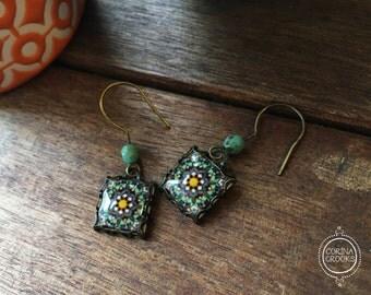 Geometric earrings, green dangle earrings, Islamic jewelry, Bohemian earrings, Islamic tile design, Handmade, Folk art, Middle Eastern