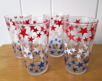 4 vintage red white and blue star glasses