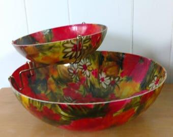 vintage fiberglass floral chip and dip bowl set