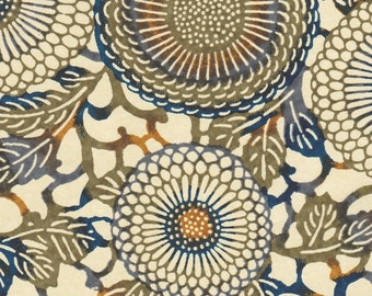 Chiyogami or yuzen paper - Japanese chrysanthemums, army green and navy blue with grey and ochre accents, 9x12 inches