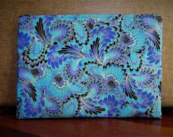 Cosmetic Makeup Zippered Bag Cotton Cloth Blues Purples Ready To Ship