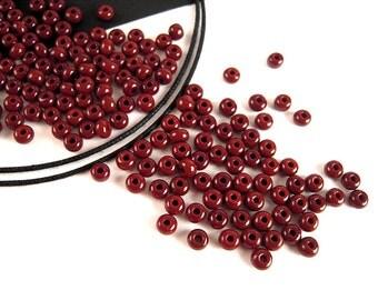 55 Cents a Strand, Dark Brown Seed Beads, 6/0, 4mm, 4 FULL Strands, Latte Brown, Opaque Brown Czech Beads, Brown Seedbeads SB083