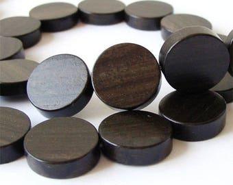Tiger Ebony Flat Round 15mm Wood Beads