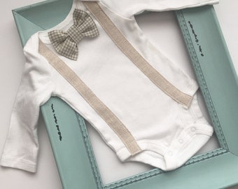 Bow tie suspenders onesie or Tshirt... vintage style look... boys clothing.. photo prop... new baby
