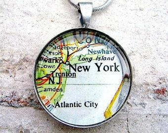 New York City Map Pendant  - Vintage Map Jewelry - Atlantic City - Trenton -  Pendant Only
