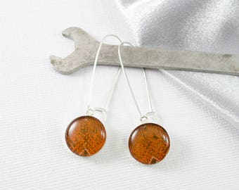 Orange Circuit Board Earrings, Sterling Silver Dangle Earrings, Wearable Technology, Techie Geek Earrings, Computer Engineer Earrings
