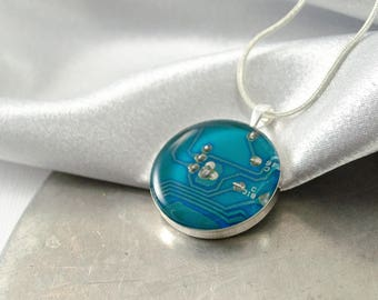 Circuit Board Necklace Turquoise Blue, Wearable Technology, Techie Jewelry, Upcycled Computer Jewelry, Motherboard Necklace, Geeky Gift