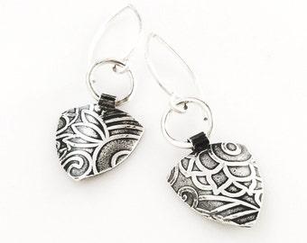 Riley Industrial Earrings - Silver Dangle Triangle Earrings Handmade by Queens Metal