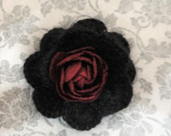 Victorian Steampunk Burgundy Black Crochet Flower lapel pin hat pin hair clip