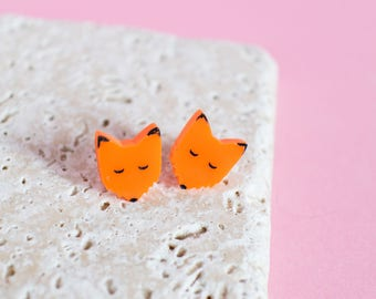 Fox Earrings - fox jewellery - fox jewelry - fox studs - red fox - arctic fox - animal earrings - fox gift - gift for fox lover - laser cut