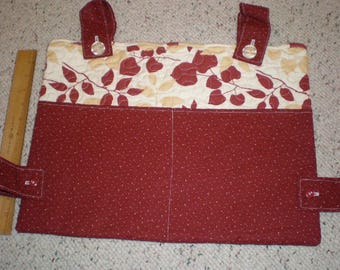 Burgundy and Tan Leaves print Walker Bag with burgundy pockets and straps
