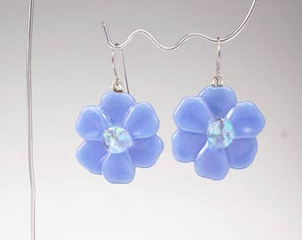 Periwinkle flower earrings, fused glass earrings, flower dangle earrings, handmade glass earrings