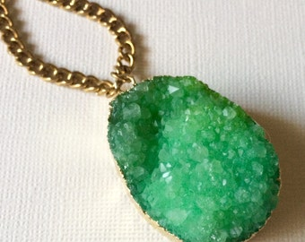 Green 24K Gold Druzy Necklace on  Thick Antique Gold Faceted Chain