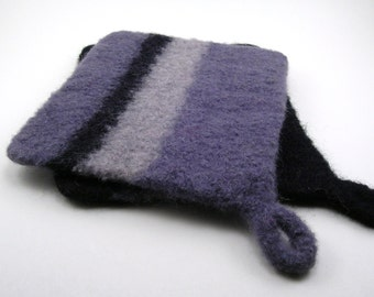 Felted wool potholders - wool hot pads - pot holder set - black, slate gray and silver